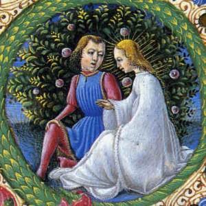 """Dois amantes em uma ilustração do """"Cantico dei Cantici"""""""